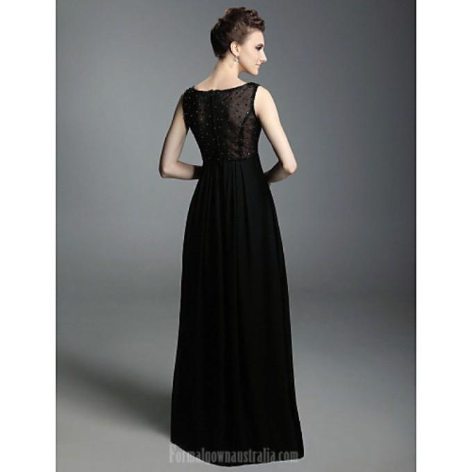 690 Australia Formal Evening Dress Military Ball Dress Black Plus Sizes Dresses Petite A-line Princess V-neck Straps Long Floor-length Chiffon_3-800x800