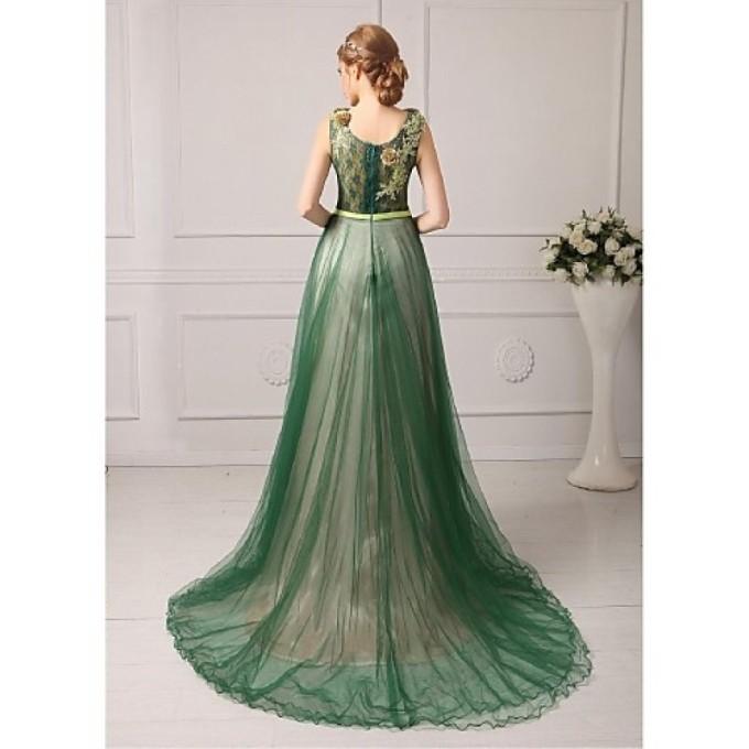 893Australia Formal Evening Dress Dark Green Royal Blue Fuchsia Regency Jade Plus Sizes Dresses Petite A-line Jewel Court Train Tulle_4-800x800