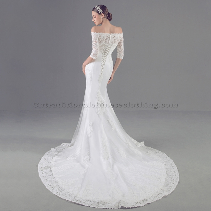 3 Elegant White Trail Mermaid Traditional Dress Off The Shoulder Formal Dress With Lack Up Back-800x800