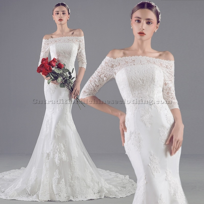4 Elegant White Trail Mermaid Traditional Dress Off The Shoulder Formal Dress With Lack Up Back-800x800