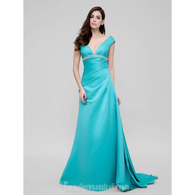 2782 Australia Formal Evening Dress Jade A-line V-neck Court Train Satin-800x800