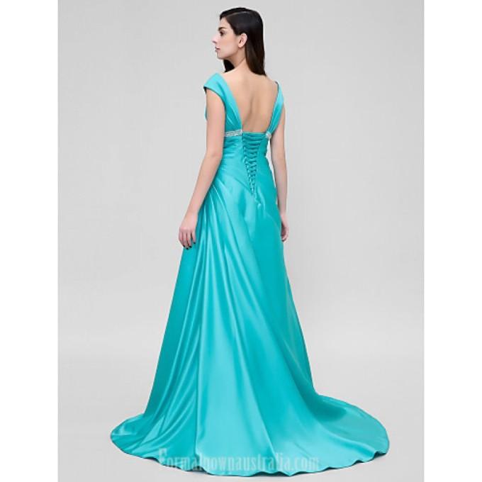 2782 Australia Formal Evening Dress Jade A-line V-neck Court Train Satin_2-800x800