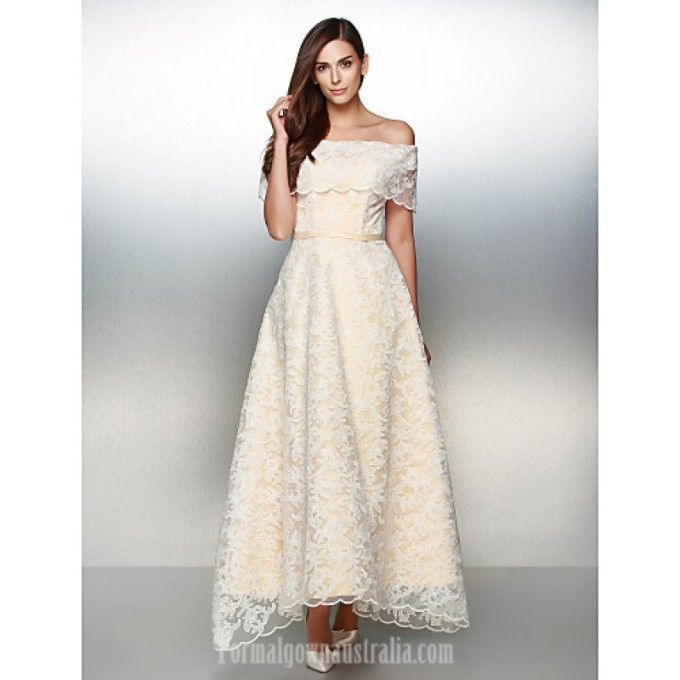 3035 Australia Formal Evening Dress Ivory A-line Off-the-shoulder Ankle-length Lace-800x800