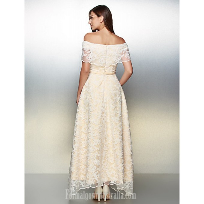 3035 Australia Formal Evening Dress Ivory A-line Off-the-shoulder Ankle-length Lace_5-800x800