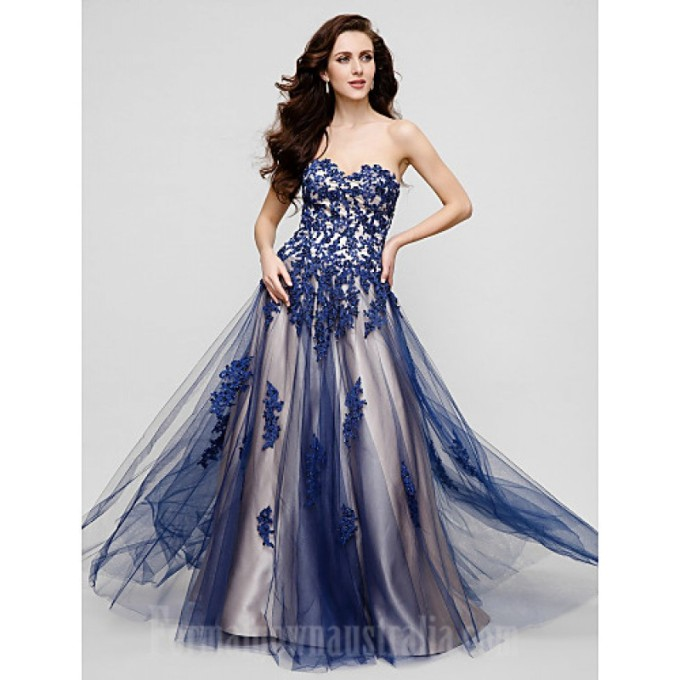 112Australia Formal Evening Dress Ink Blue Plus Sizes Dresses Petite A-line Sweetheart Long Floor-length Tulle Dress-800x800