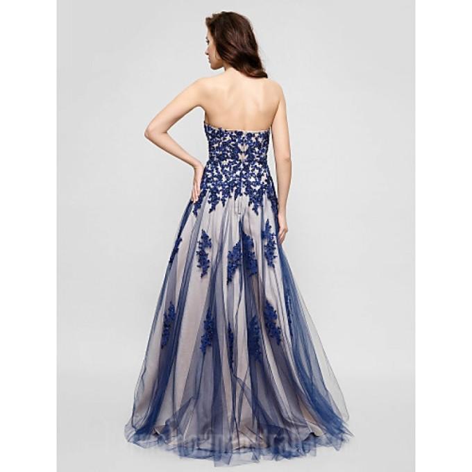 112Australia Formal Evening Dress Ink Blue Plus Sizes Dresses Petite A-line Sweetheart Long Floor-length Tulle Dress_4-800x800