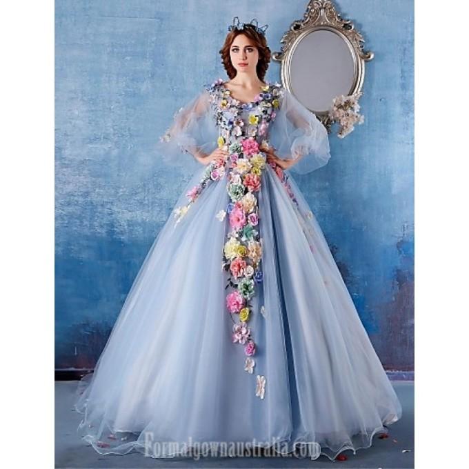 1598Australia Formal Evening Dress Light Sky Blue Ball Gown V-neck Chapel Train Satin-800x800