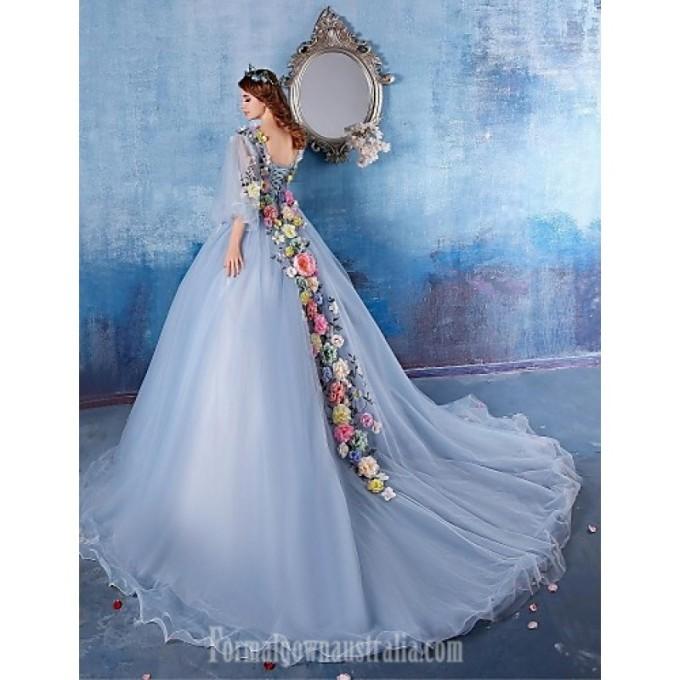 1598Australia Formal Evening Dress Light Sky Blue Ball Gown V-neck Chapel Train Satin_4-800x800