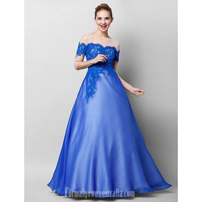2906 Australia Formal Evening Dress Royal Blue A-line Bateau Long Floor-length Chiffon Lace Tulle-800x800