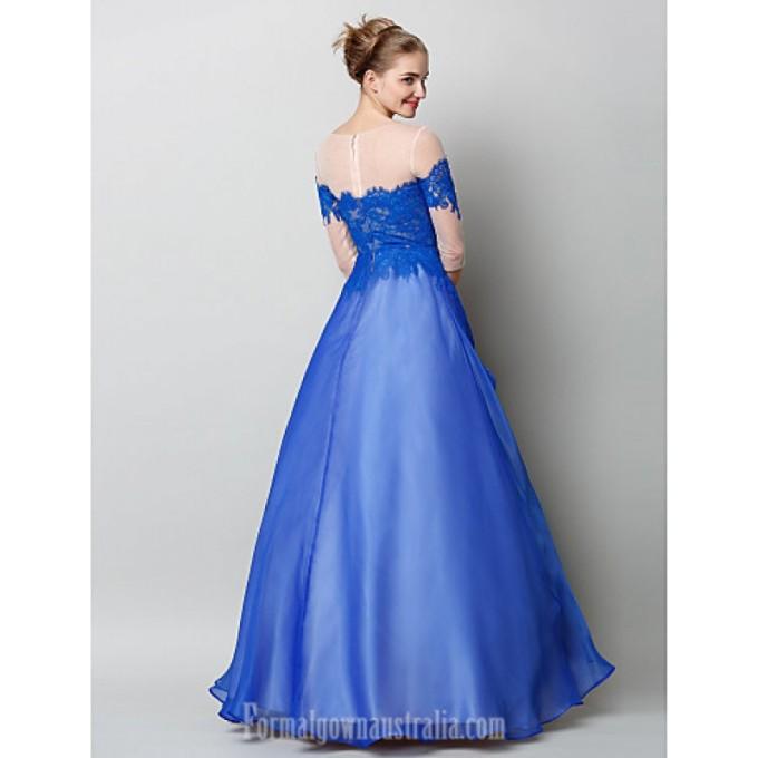2906 Australia Formal Evening Dress Royal Blue A-line Bateau Long Floor-length Chiffon Lace Tulle_2-800x800