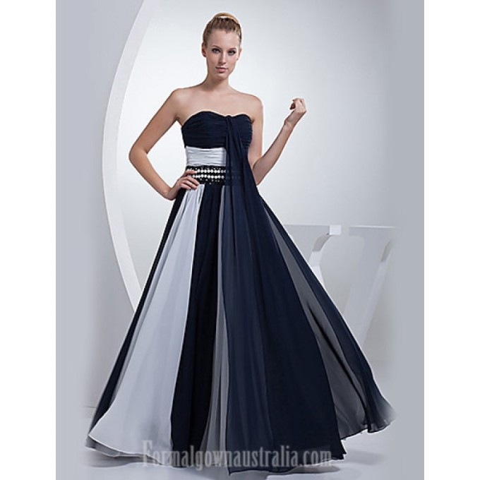 3321Australia Formal Evening Dress Ink Blue A-line Sweetheart Long Floor-length Chiffon-800x800