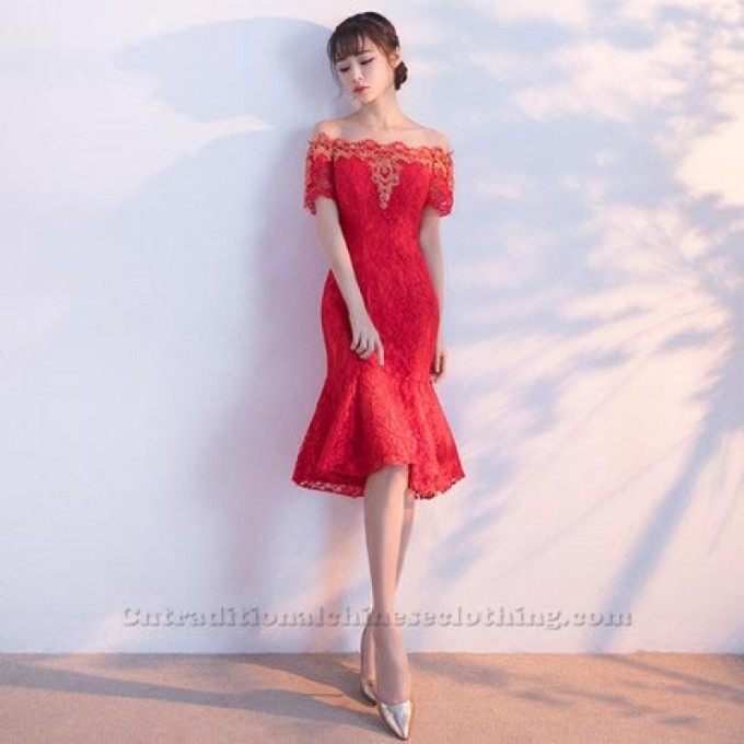 2-A-Ling-Knee-Length-Red-LaceShort-Sleeves-Traditional-Dress-800x800