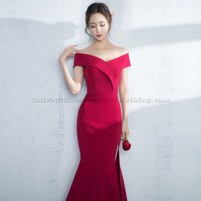 2 Elegant Emcee Dress Floor Mermaid Evening Dress Off The Shoulder Split Chinese Traditional Dress-800x800