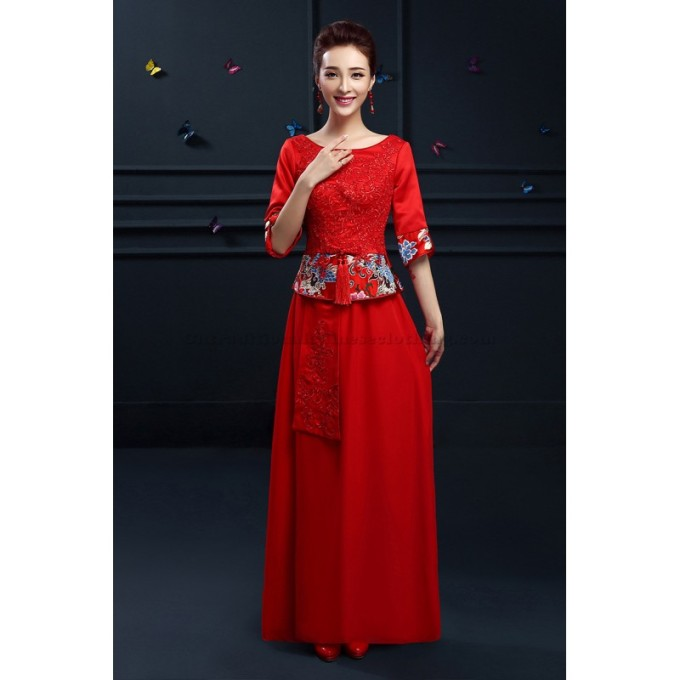 2 Simple Ankle-Length Traditional Chinese Dress Red Embroidery Chinese Dress -800x800