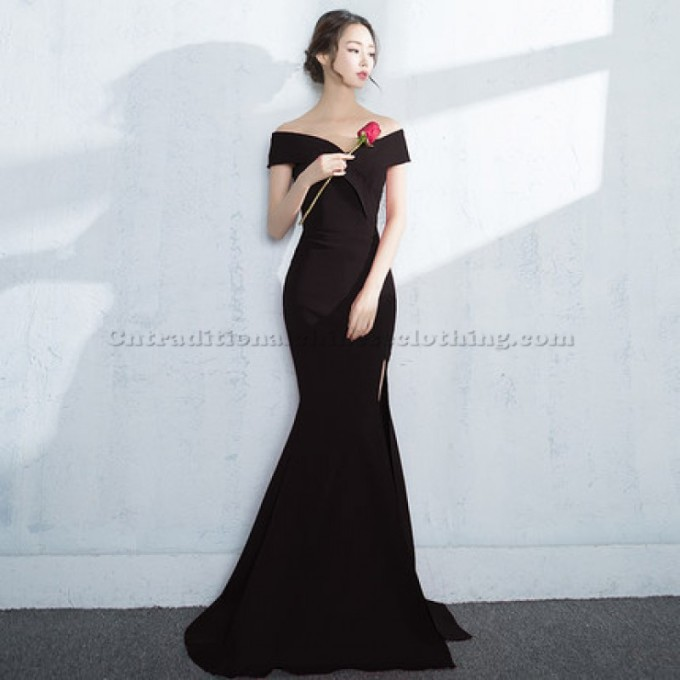 3 Elegant Emcee Dress Floor Mermaid Evening Dress Off The Shoulder Split Chinese Traditional Dress-800x800