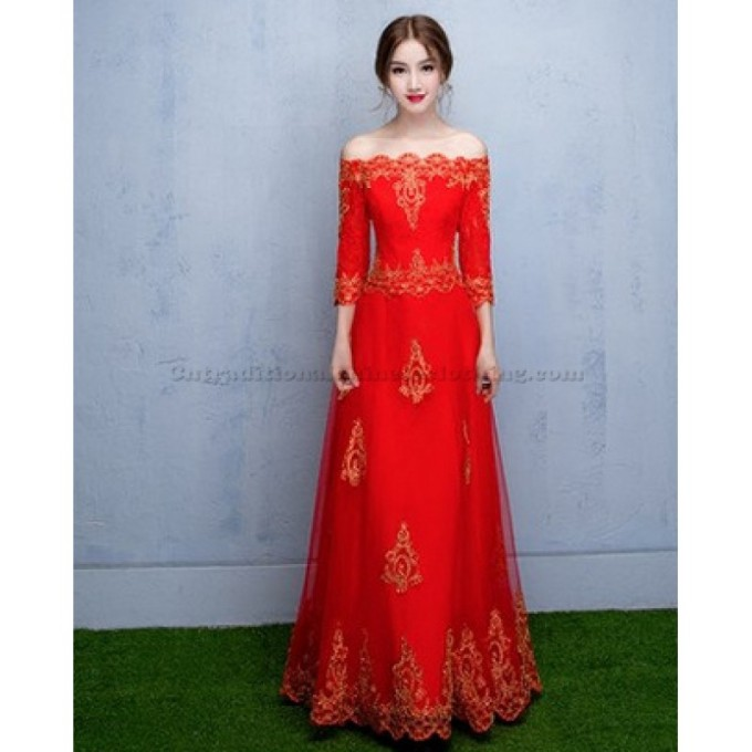 7 New Red Embroidered Lack Moderm QiPao Off The Shoulder Chinese Cheongsam Dress-800x800