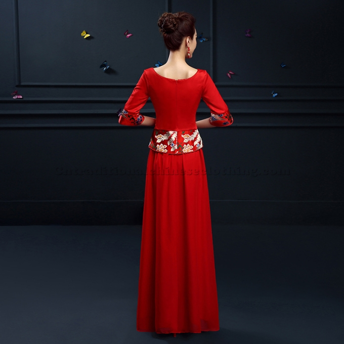 Simple Ankle-Length Traditional Chinese Dress Red Embroidery Chinese Dress -800x800